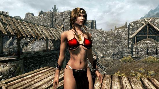 Платье принцессы Леи \ Neo Slave Leia for Skyrim - CBBE для TES V: Skyrim