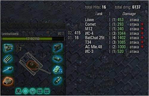 Счетчик нанесенного урона за бой в World of Tanks 0.9.16