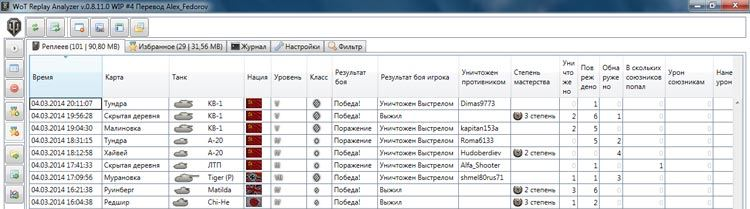 Мощный инструмент для работы с реплеями WoT Replay Analyzer Full Rus 0.9.16