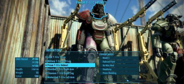 Материал и окраска силовой брони одновременно v 1.2 для Fallout 4