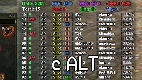 Панель полученного и нанесенного урона с временем перезарядки противника для World of Tanks 0.9.16