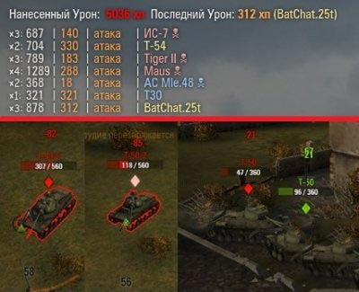 Мод нанесенного урона вверху экрана World of Tanks 0.9.16