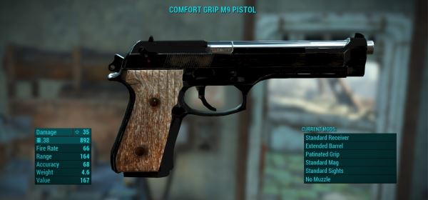 The M9 Standalone Pistol для Fallout 4
