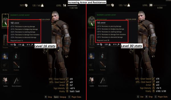 Leveling Kaer Morhen Armor and Warriors Leather Jacket v 1.4.1 для Ведьмак 3