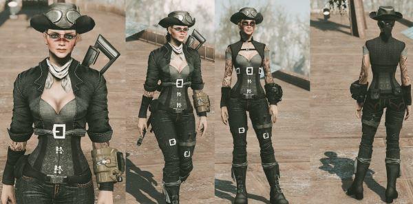 Steampunk Gunslinger Outfit для Fallout 4