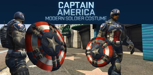 Captain America Modern Soldier + Shield [Add-On Ped] для GTA 5