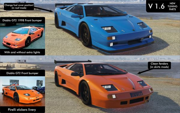 Lamborghini Diablo GTR [Add-On | Tuning | Template] v 1.6 для GTA 5