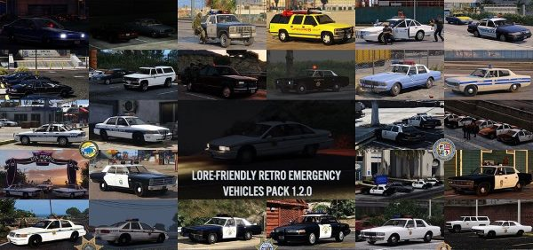 Lore-Friendly Retro Emergency Vehicles Pack v 1.2.0 для GTA 5